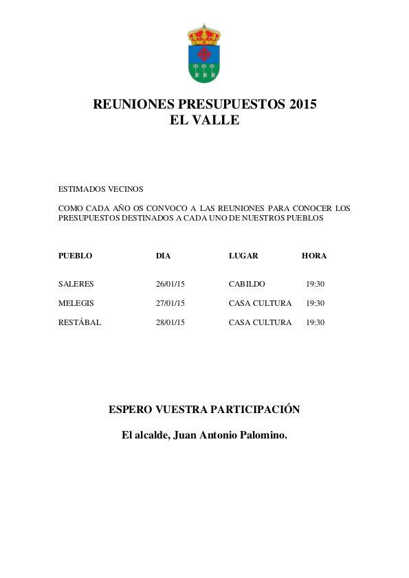 REUNIONES PRESUPUESTOS 2015